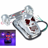 Chrome Skeleton Style Modified Motorcycle LED Skull Taillight With Turn Signal Motorbike Tail Lights Plus Steering Styling 3