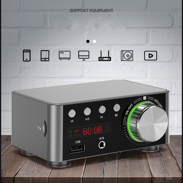 TPA3116 50W *2 Class D Stereo Bluetooth 5.0 Digital Power Amplifier TF 3.5mm USB Input Hifi Audio Home AMP MP3 For Mobile