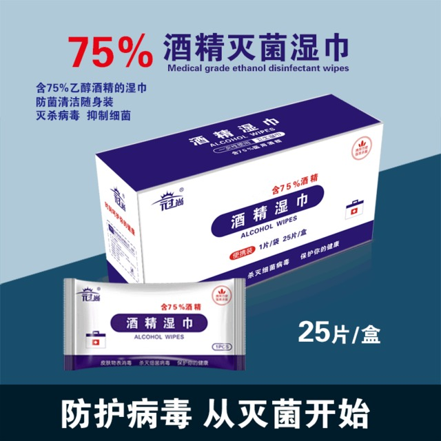 Spot 25 Individual Boxes Of Disposable Alcohol-sterilized Wipes Portable Hand Wipes For Household Use