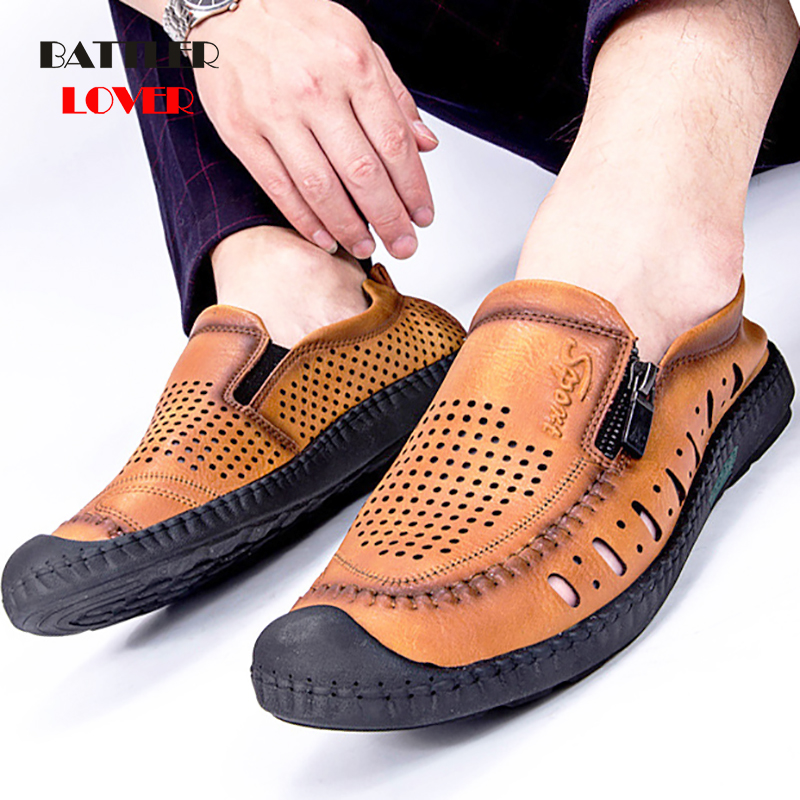 Italian Mens Shoes Casual Luxury Brand Summer Men Loafers Genuine Leather Moccasins Light Breathable Slip on Boat Shoes Comfort