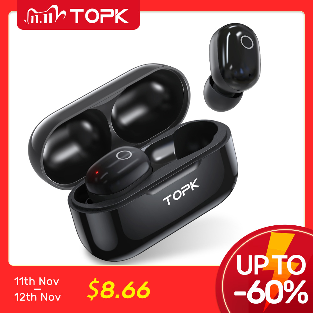 TOPK T12 Wireless Bluetooth Headphones V5 0 Touch Control Earphones Earbuds 3D Stereo Gaming Sport Headset with 350mAh battery