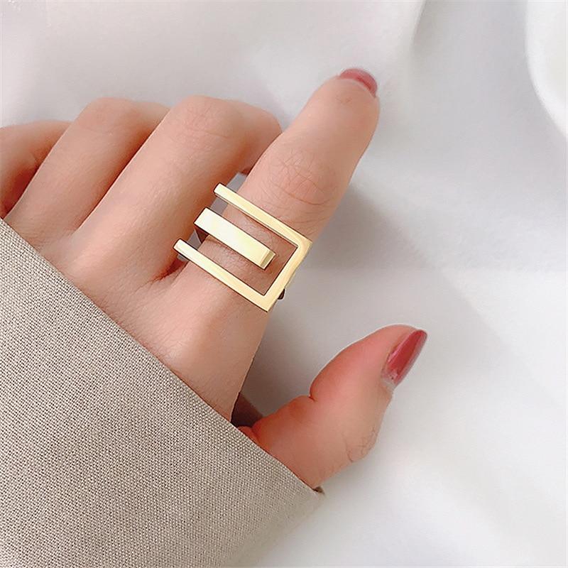 Новинка 2020, Женское кольцо на палец, простое стильное Золотое кольцо, ювелирный подарок на палец