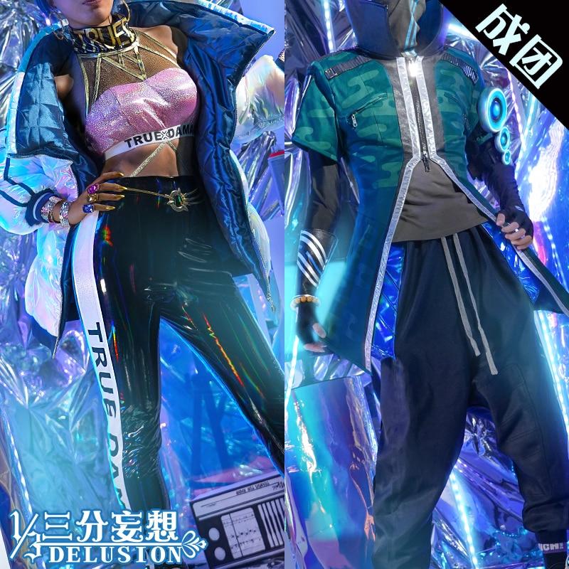 LOL Qiyana Yasuo True Damage Uniform Cosplay Costume 1/3 Delusion Version Free Shipping