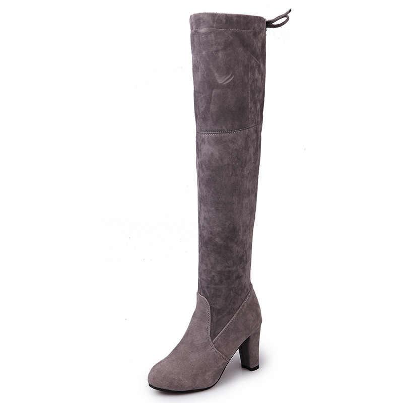 Faux daim Slim bottes sur le genou hiver femmes bottes Sexy cuissardes bottes femme pointue bottes à talons hauts 35-43 chaussures B1402