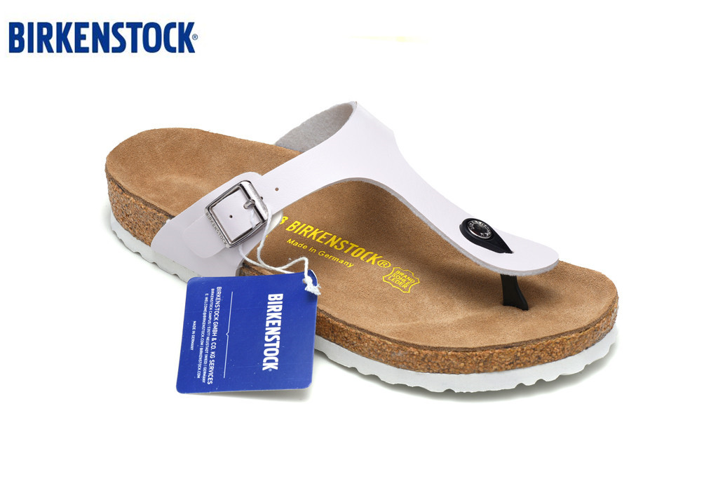 BIRKENSTOCK Gizeh Slippers Man Woman Open Toe Sandals,Summer Beach Slippers Genuine Leather Flats  Cork Slippers White Mirror