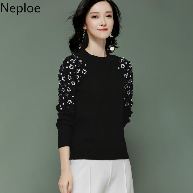 Neploe O Neck Pullover Loose Sweater Women Elegant Foral Knit Bottom Jersey Mujer Invierno 2019 Autumn Wild Student Top 46079