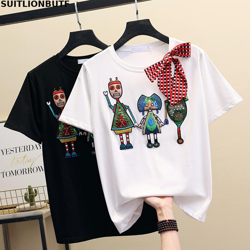 SUITLIONBUTF Summer <font><b>Funny</b></font> <font><b>T</b></font> <font><b>Shirt</b></font> <font><b>Women</b></font> Silk Cotton Cartoon Beading Bow <font><b>T</b></font> <font><b>Shirt</b></font> Perfect Quality Solid <font><b>Women</b></font> <font><b>T</b></font> <font><b>Shirt</b></font> Ropa Mujer image