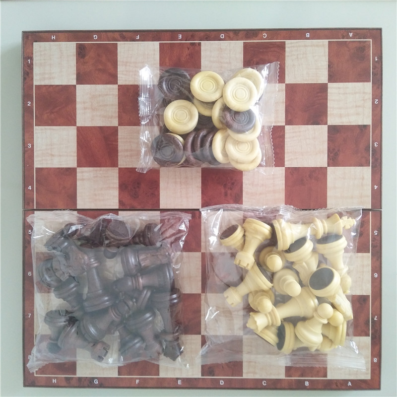 Magnetic Wood WPC International Chess & Checkers Pieces 32 Pcs/set Folding Table Games Board 31cm King 6.6cm Funny Family Game 4