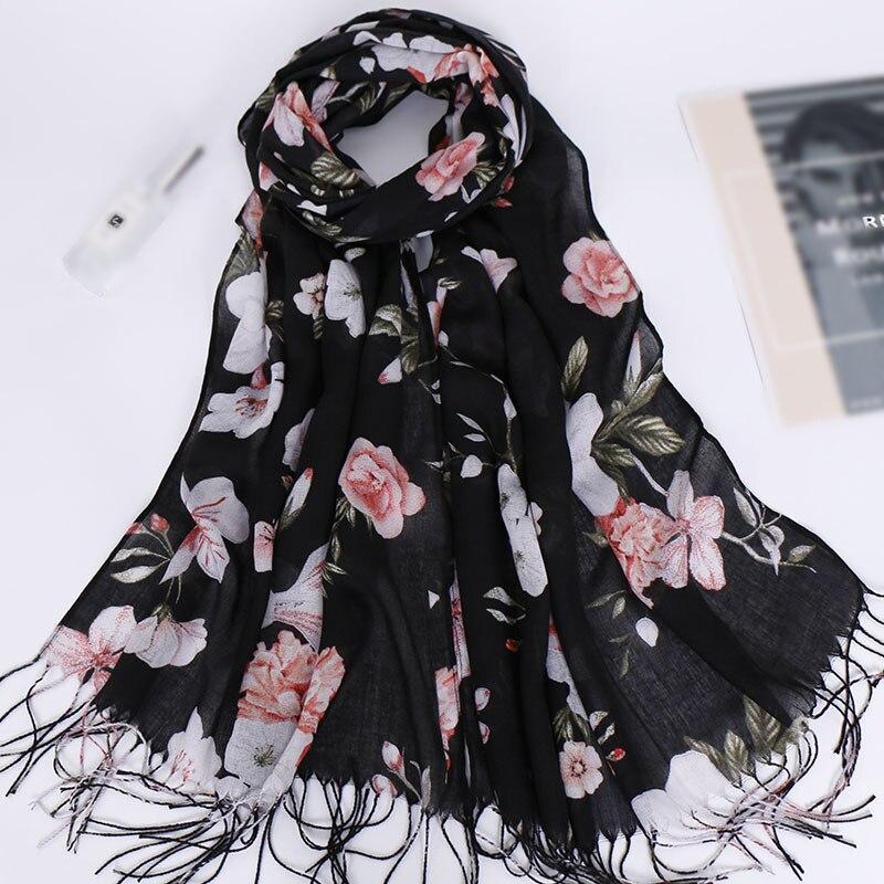 2019 NEW Fashion Cotton Women Flower Print Scarf Shawl And Wraps Headscarf Pashmina Long Tassel Female Foulard Hijab Store