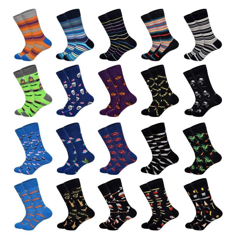 LIONZONE 2019 New Men Socks Pumpkin Halloween Saxophone Moustache Scarecrow Charizard Stripe Business Pattern Cotton Socks