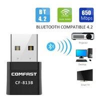 Adaptador USB Bluetooth WiFi 5Ghz, receptor externo inalámbrico de doble banda 650Mbps, Mini Dongle WiFi, tarjeta de red para pc BT4.2/portátil