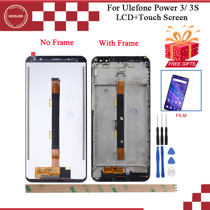 """ocolor For Ulefone Power 3 LCD Display AndTouch Screen With Frame 6.0"""" Digitizer For Ulefone Power 3S With Tools+Adhesive +Film-in Mobile Phone LCD Screens from Cellphones & Telecommunications"""