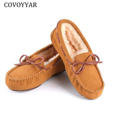COVOYYAR2019 Winter Shoes Woman Winter Warm Plush Genuine Leather Flat
