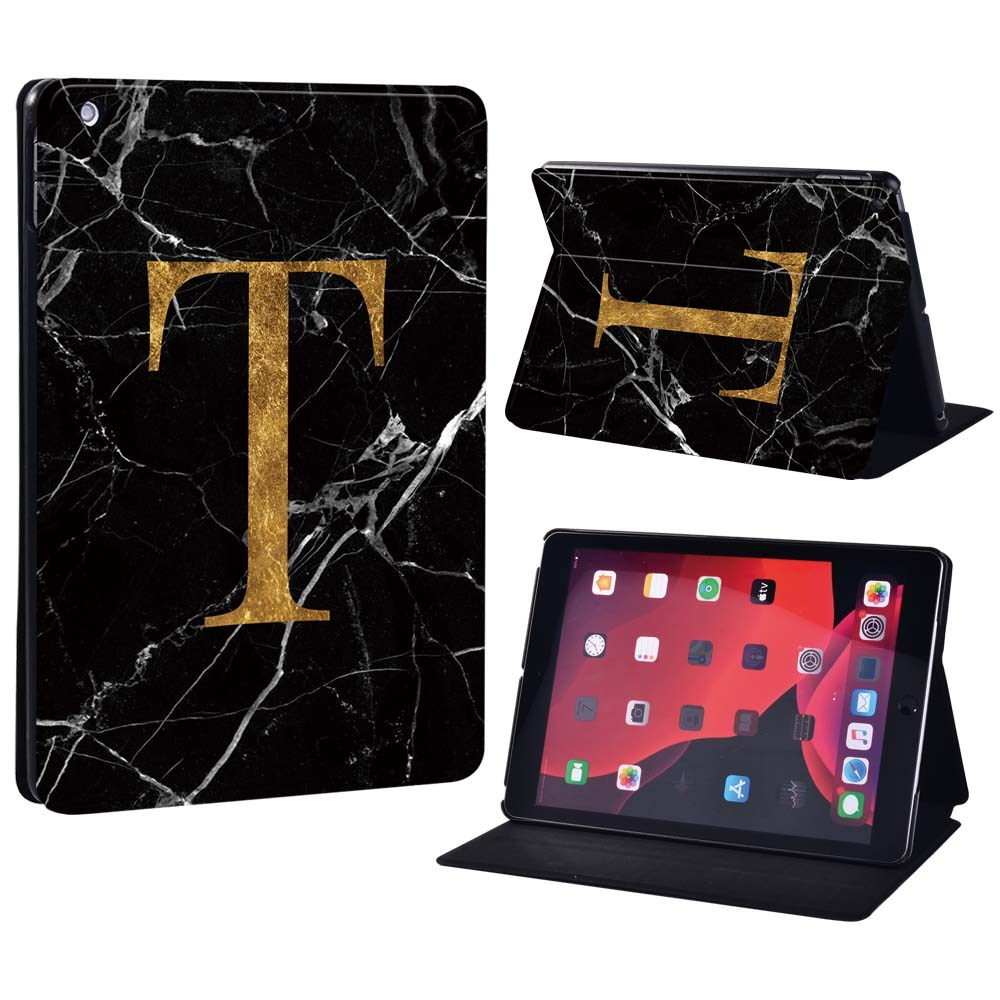 letter T on black Palegoldenrod For Apple iPad 8 10 2 2020 8th 8 Generation A2428 A2429 Printing initia letters PU