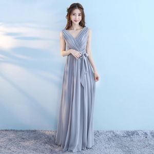 Image 5 - New 6 Style Pink Blush Dress For Women Sexy Chiffon Bridesmaid Dresses Backless Wedding Party Dress Long Gala Gowns Elegant Gray