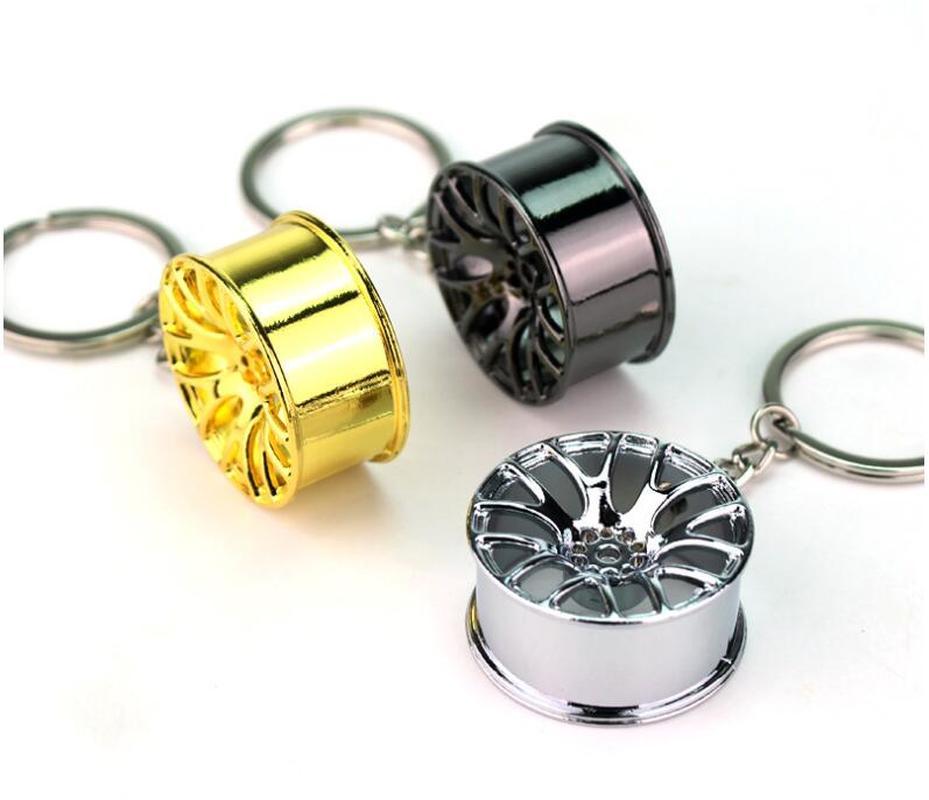 FREE Creative Car Wheel Rim Turbo Metal Pendant Keychains Gift For Men Keyring Hanging Decoration Car Key Chain Key Ring Trinket