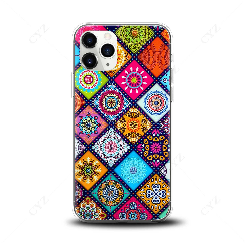 Telefoon Geval Mooie Mandala Bloem Plaid Coque Voor Iphone 5 Se 6 S 7 8 Plus X S MAX XR 11 PRO MAX Case Zachte Siliconen TPU Funda