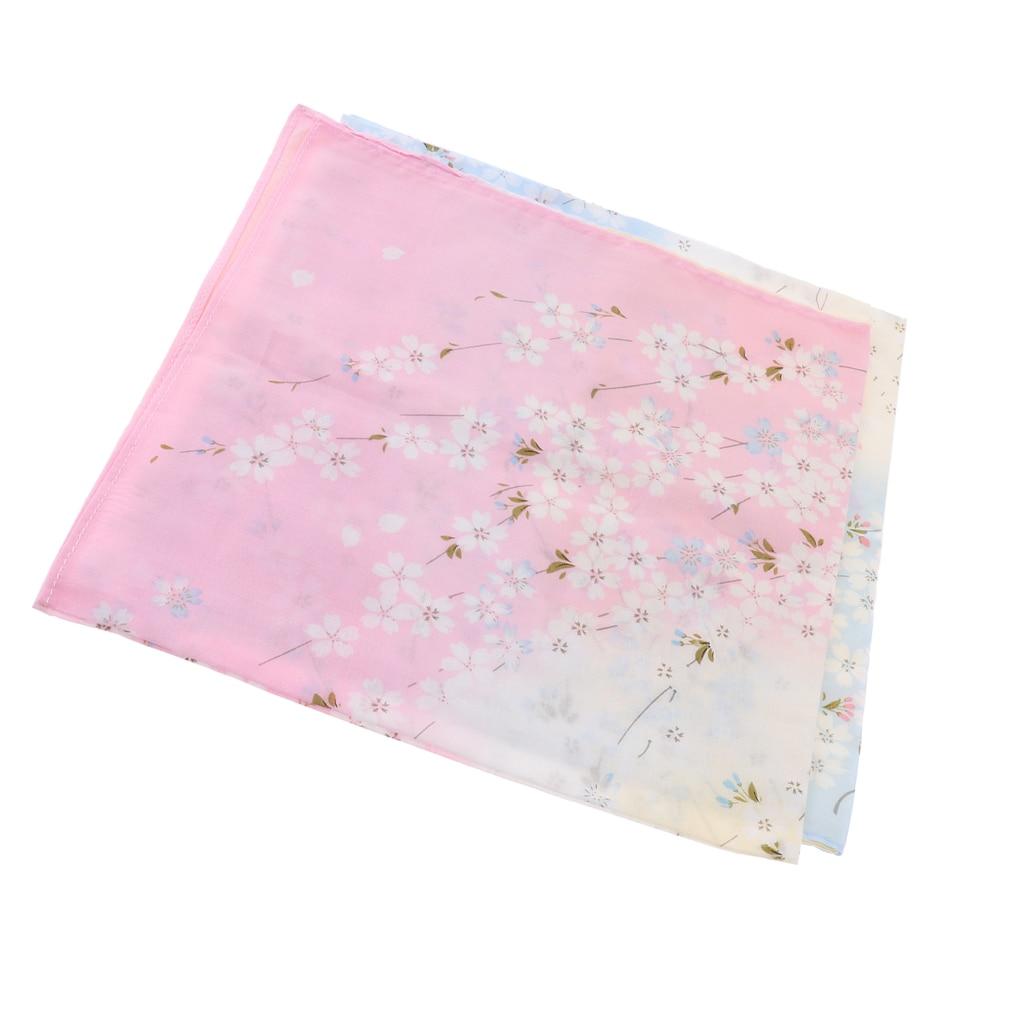 2 Pieces Women Pink Pocket Square Vintage Cotton Cherry Blossom Pattern Floral Hankies Handkerchief