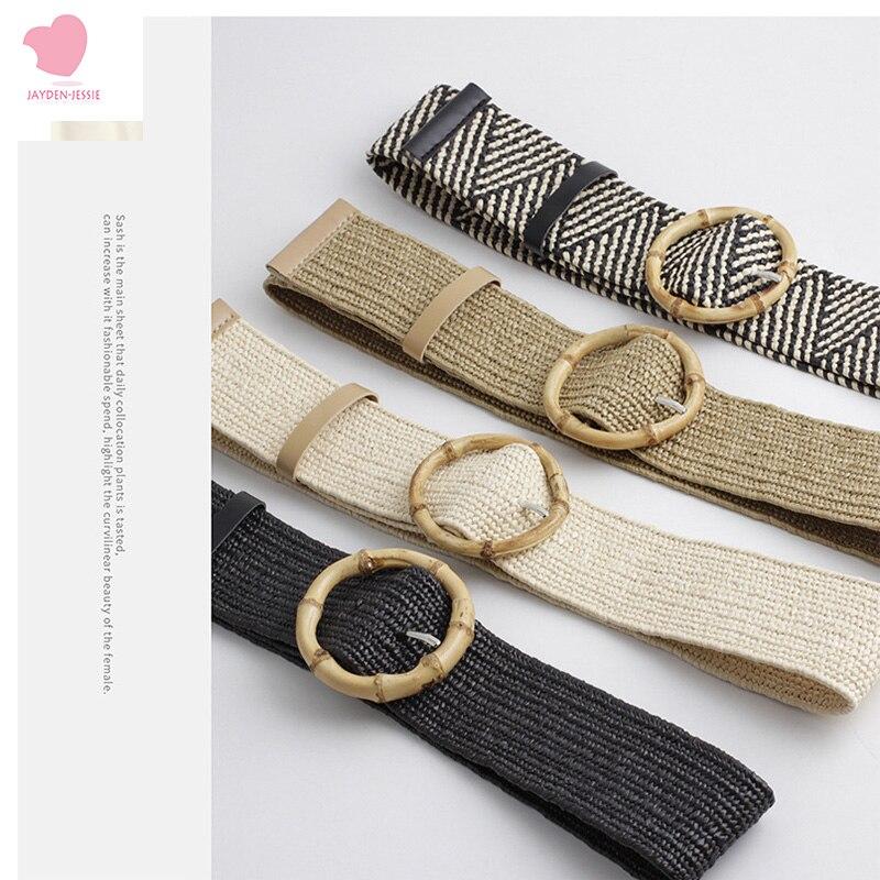 New Fashion Geometric Pattern Belt PP Straw Woven Belt Bamboo Round Buckle Women's Decorative Belt Wild Stretch Pants Belt
