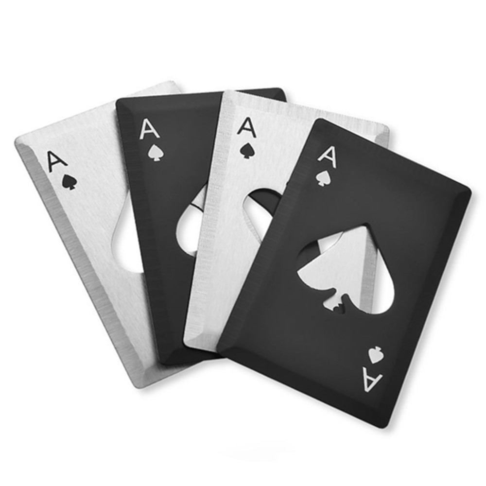 Stainless Steel Bottle Opener Knife Creative Poker Credit Card  Spades Sharp Edge Knife 2 Colors Pocket Knife