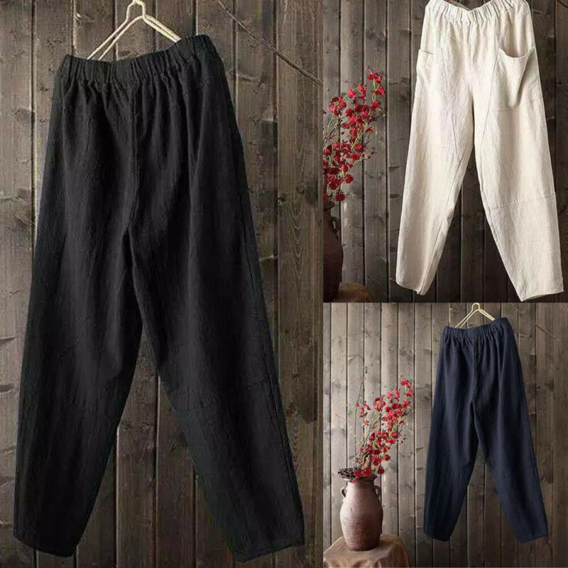 2020 Men's Pure Color Overalls Casual Pocket Sport Jogging Beach Trouser Cotton Linen Home Yoga Straight Cargo Pants Large Size