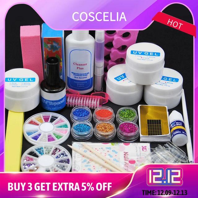 Маникюрный набор инструментов, набор для ногтей, УФ светодиодная лампа, УФ гель для ногтей, кончик для ногтей, инструменты для дизайна, набор...
