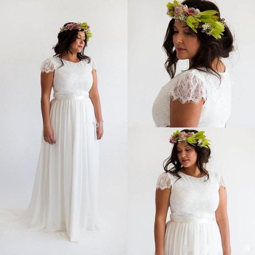 Bohemian Beach Plus Size Short Sleeves 2018 Vintage Lace Bridal Gowns Chiffon Boho Vestidosde Novia Mother Of The Bride Dresses
