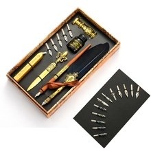 Calligraphy Quill Feather Dip Pen Fountain Writing Ink Nibs Seal Wax Gift Box 103E