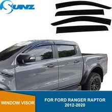 Side Wind Deflector For Ford Ranger Raptor 2012 2013 2014 2015 2016 2017 2018 2019 2020 Black Rain Guard Window Visor SUNZ