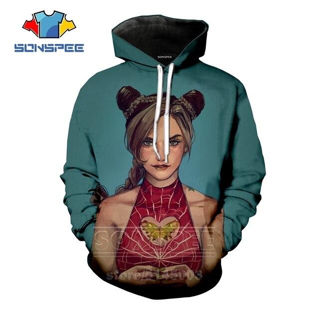 Anime JoJo Bizarre Adventure Hoodies Men Women JOJO Sweatshirt 3D Print Fashion Long Sleeve Hip Hop Top O Neck Pullover C045-14 3