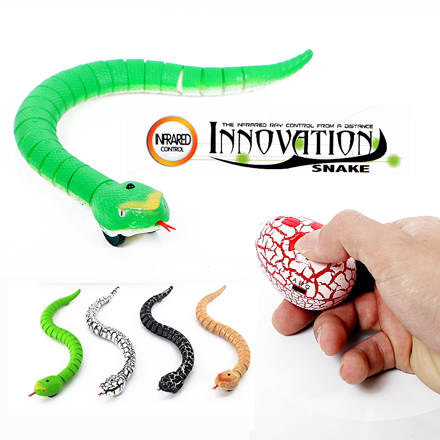 16 inches Realistic Rechargeable Remote Control RC Snake Toy with Egg-Shaped Infrared Controller,Terrifying Mischief Toys(China)