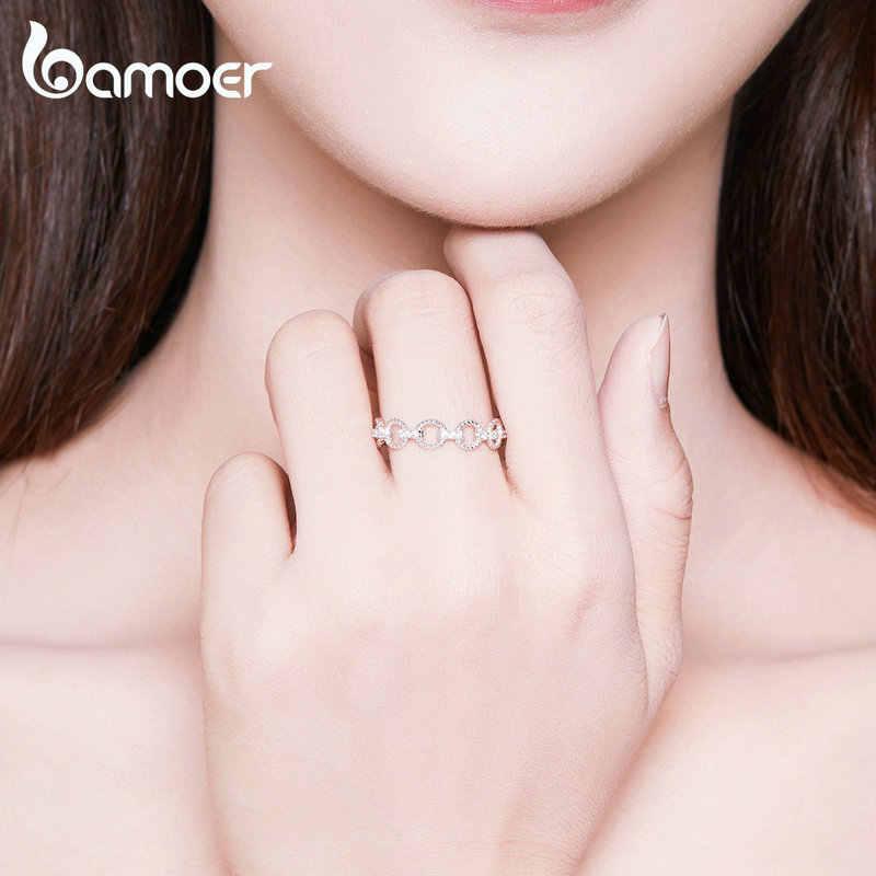 Bamoer เรขาคณิตสร้อยข้อมือ Pettern แหวนสำหรับสตรี Openwork Stackable แหวน 925 เงินสเตอร์ลิงแฟชั่นเครื่องประดับ SCR576