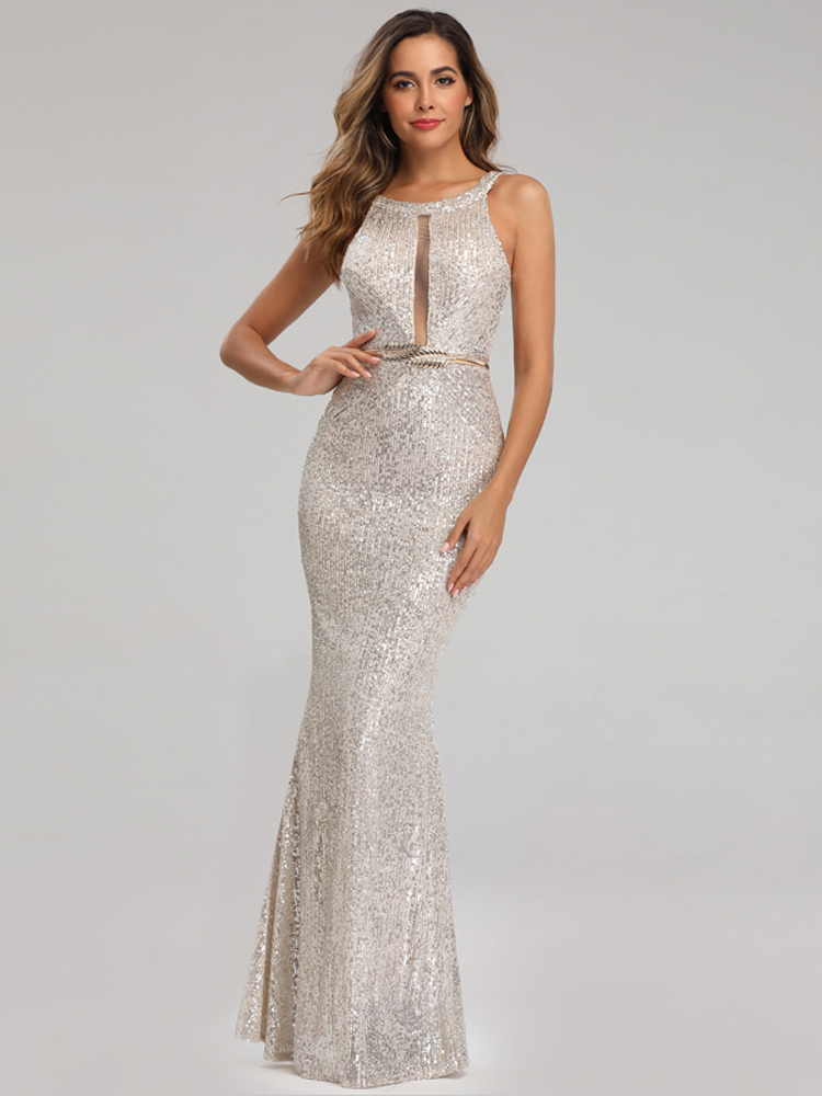YIDINGZS Party Dress Off-Shoulder Silver Formal Long Sequins Sexy See-Through YD16363