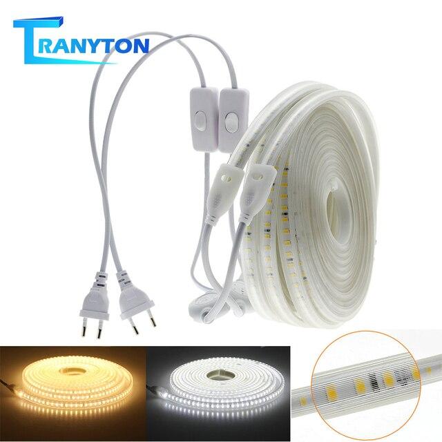 Taśma LED 220V 2835 wysoka jasność IP65 wodoodporna elastyczna lampa LED wysokie bezpieczeństwo zewnętrzna taśma oświetlająca LED z 1 metrowym przewodem + wtyczka