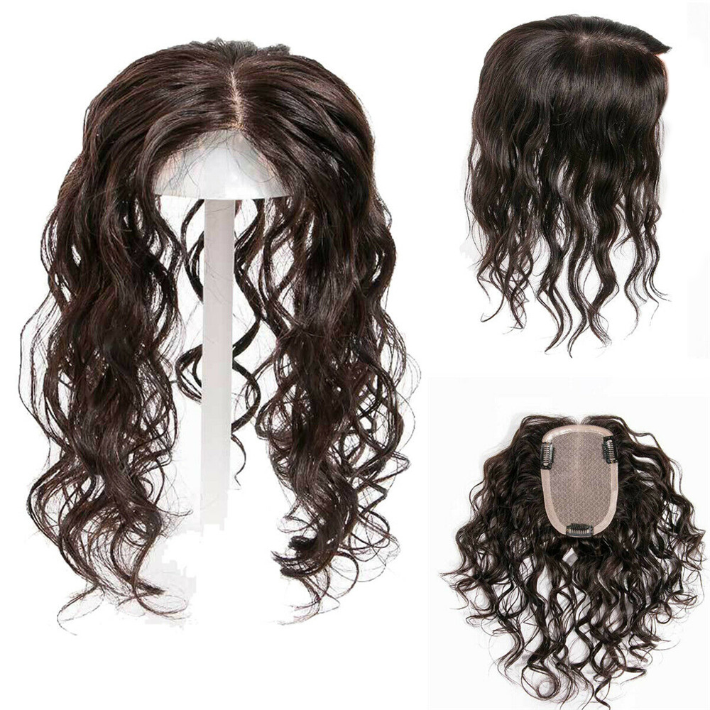 BYMC 9 Inches 16*18cm Lace With Silk Base Replacement System Human Hair Toupee For Women Loose Wave With Clips Cover White Hair