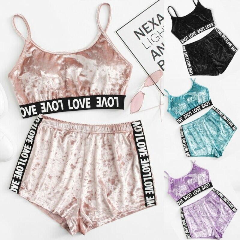 Goocheer Pink VS Love Letter Printed Tape Detail Crushed Velvet Pajama Set Women 2019 Summer Casual Home Clothes Lingerie Set