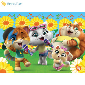 Image 2 - Sensfun Cartoon 44 Cats Backdrop Sunflower Music Children Birthday Theme Party Photography Background Photo Booth Props Studio