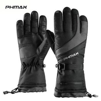 Зимние лыжные перчатки PHMAX для мужчин и женщин, теплые флисовые перчатки для сноуборда, водонепроницаемые теплые перчатки для сенсорного эк...