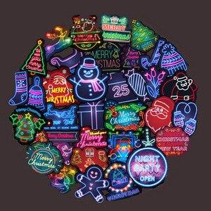 Image 2 - 50 Pz/pacco Al Neon Di Natale Adesivi Serie di Natale Babbo Natale di Doodle Autoadesivo Per Il Computer Portatile Del Mouse Moto Bagaglio di Skateboard Chitarra F4