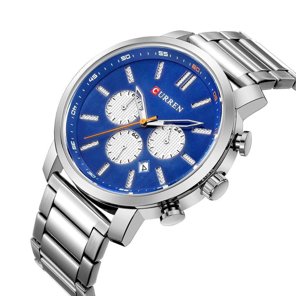 CURREN Luxury Silver Stainless Steel Sport Watch Waterproof Quartz Chronograph Wrist Blue Dial Hardlex Military