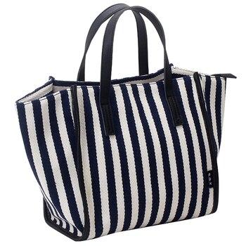Woman's Shoulder Bags Striped Shopping Bags High Quality Canvas Slung Ladies Beach Handbags Large Capacity Durable Premium Black