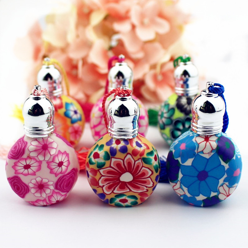 1PC Colorful 10ml Roll On Perfume Bottles Polymer Clay Empty Glass Roller Vials Refillable Thick Glass Essential Oil Bottle