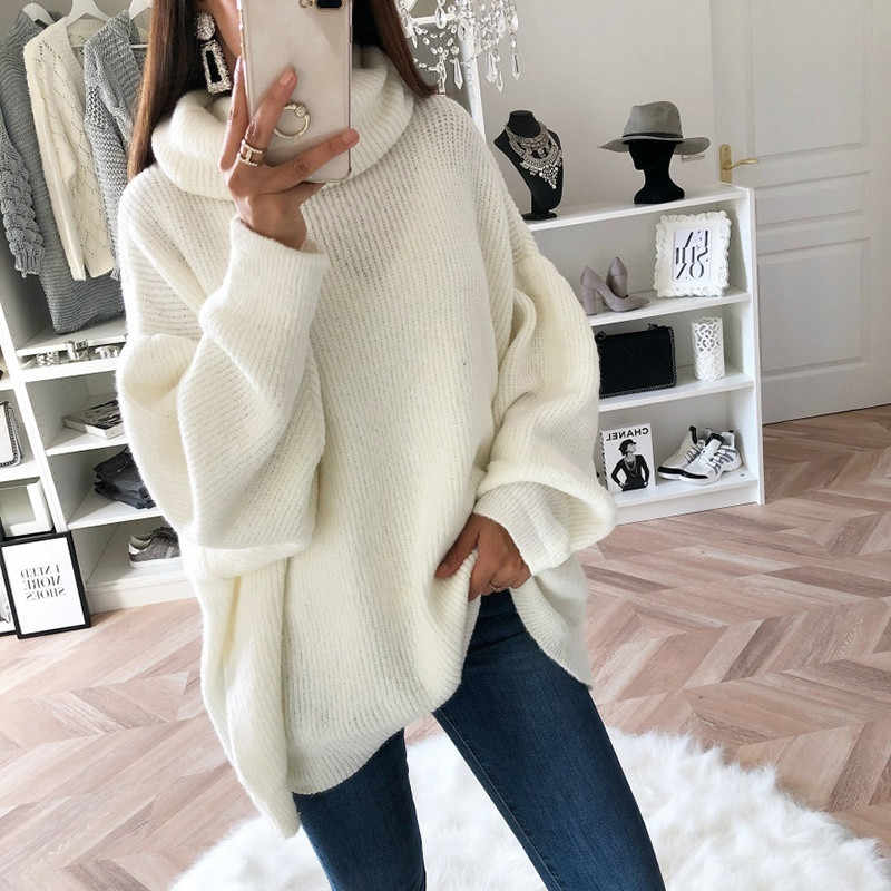 Meilleure vente femmes lâche sweat couleur unie confortable col roulé pulls pull Top Drop Shopping hauts de senhora sea4