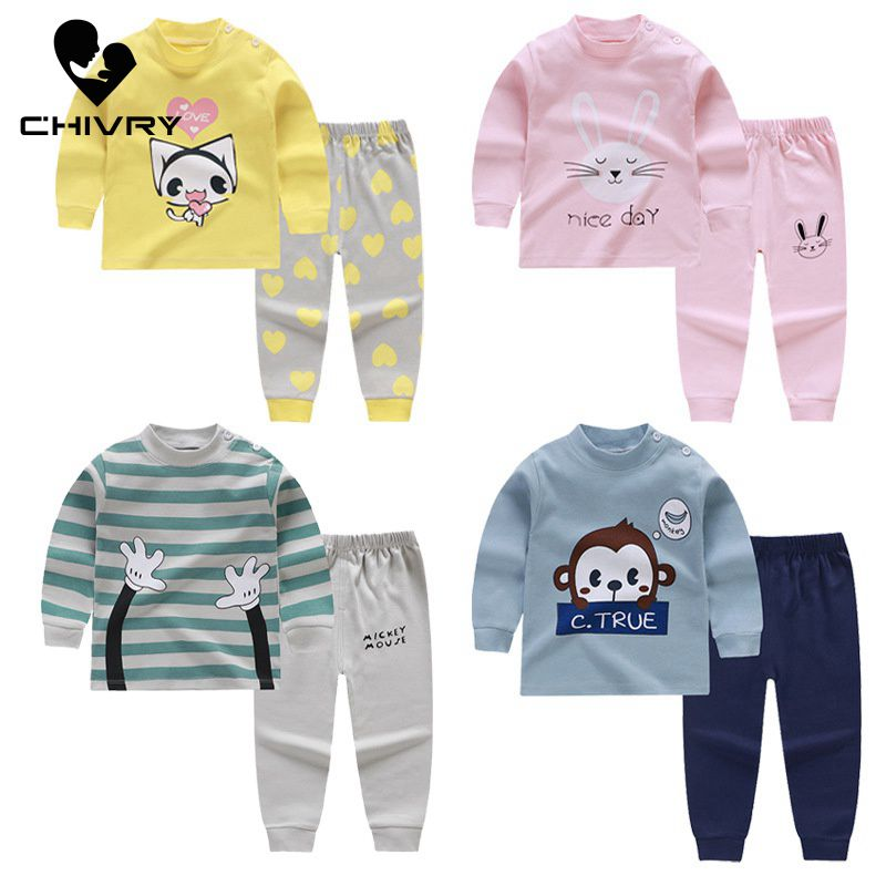 New Kids Boys Pajama Sets Cartoon Print Long Sleeve O-Neck T-Shirt Tops With Pants Newborn Baby Girls Autumn Sleeping Clothes