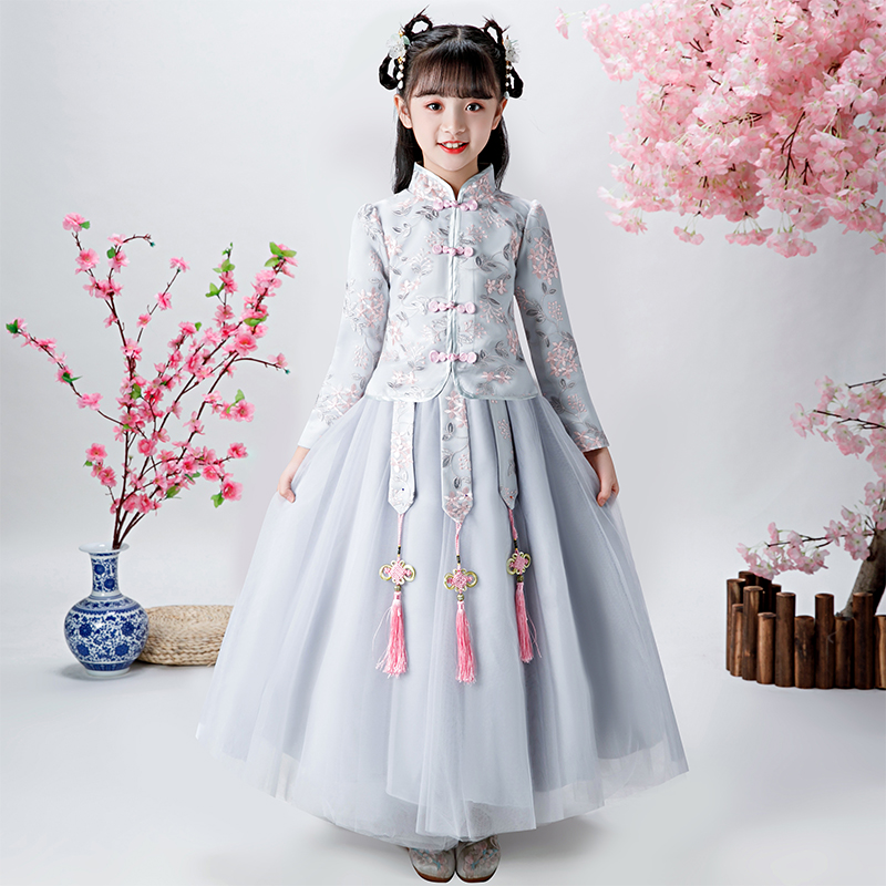 Girl's Chinese Style Embroidery Dress For wedding party Evening birthday Plush Warm Dresses the first dress vestidos de fiest