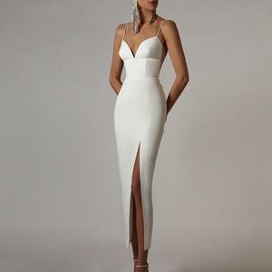 Adyce New Summer Women White Bodycon Bandage Dress Sexy V Neck Spaghetti Strap Club Celebrity Evening Runway Party Maxi Dresses
