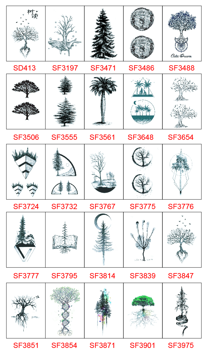 Tree Tattoo Sticker Waterproof Temporary Fake Tatoo Plants Hands Arms Shoulder Adults Women Men Body Art Makeup Tools 10.5X6cm
