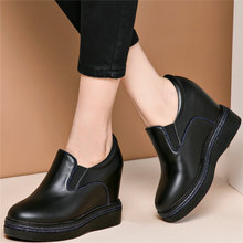 2020 Fashion Sneakers Women Genuine Leather Wedges High Heel Vulcanized Shoes Female Round Toe Platform Pumps Shoes Casual Shoes summer pumps women genuine leather sports gladiator sandals ladies platform wedges high heel mary jane shoes female casual shoes