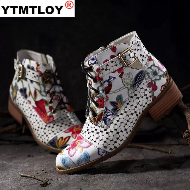 Fashion Chinese Style Women Ankle Boots Print Floral High Heel Ladies Shoes Party Dancing Pumps Basic Leather Boots Girls