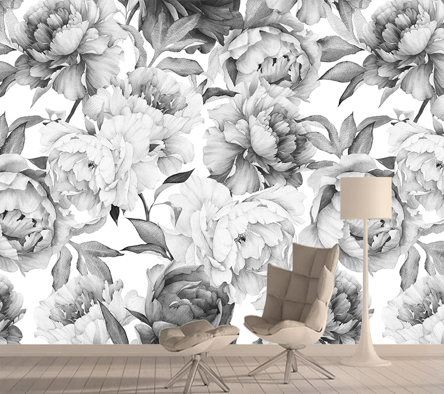 3d Wallpapers for Living Room Black White Rose Nature Wall Paper Papers Home Decor Improvement Murals